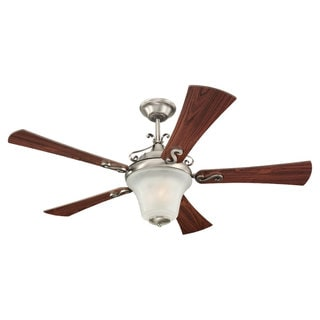 52-inch Antique Brushed Nickel Teak Wood Grain Parkview Ceiling Fan