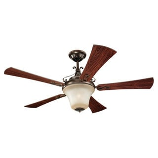 52-inch Russett Bronze and Teak Wood Grain Parkview Ceiling Fan
