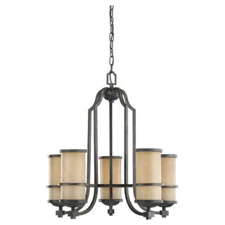 Roslyn Flemish Bronze 5-light Chandelier and Creme Parchment Glass Shades