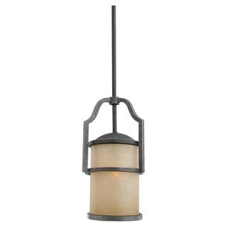 Flemish Bronze Mini-Pendant and Creme Parchment Glass Shade