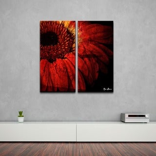 Alexis Bueno 'Gerber Daisy' Oversized Abstract Canvas Wall Art (2-Piece)