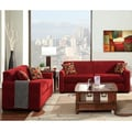 Furniture of America Crimson Red 2-Piece Contemporary Fabric Sofa and Loveseat Set (2-piece)