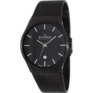 Skagen Men's Titanium Mesh Black Dial Watch
