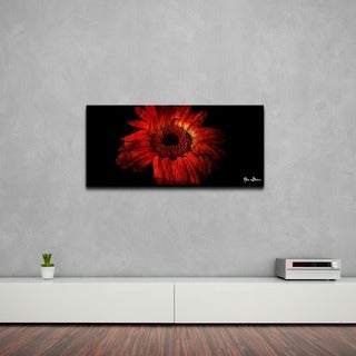 Alexis Bueno 'Daisy in Red' Oversized Abstract Canvas Wall Art