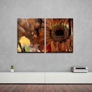 Alexis Bueno 'Gerber Daisy' 2-piece Oversized Canvas Wall Art Set