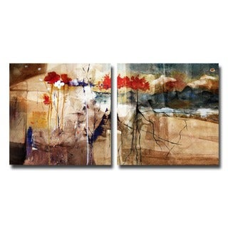 Alexis Bueno 'Floral' Oversized Abstract Canvas Wall Art (2-Piece)