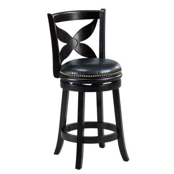 Swivel Counter Stool Bar Stool High Chair Black Kitchen: Livingston Black Floral Back Swivel Counter Stool Chair