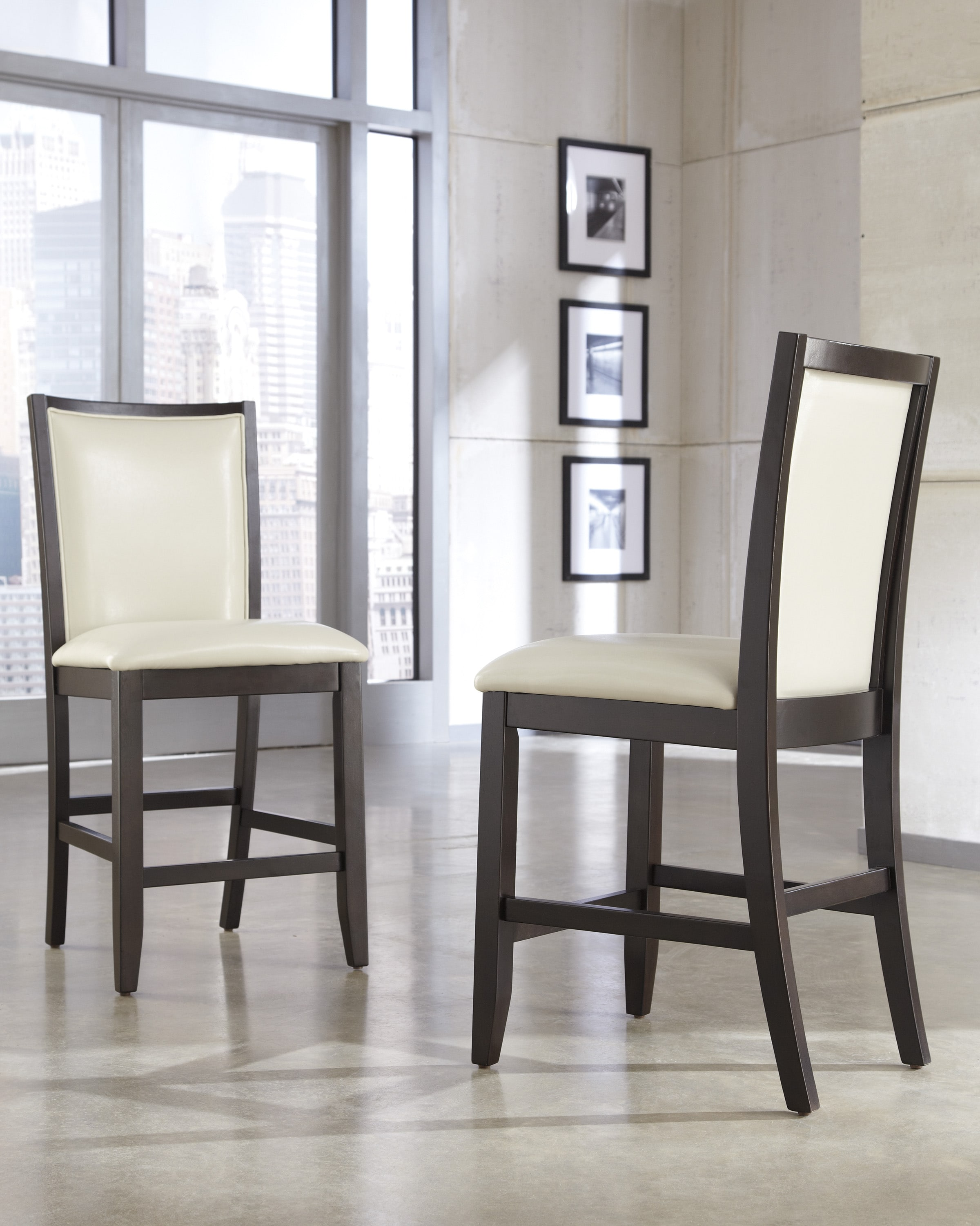 Signature Design by Ashley 'Trishelle' Ivory Upholstered Bar Stool (Set of 2)