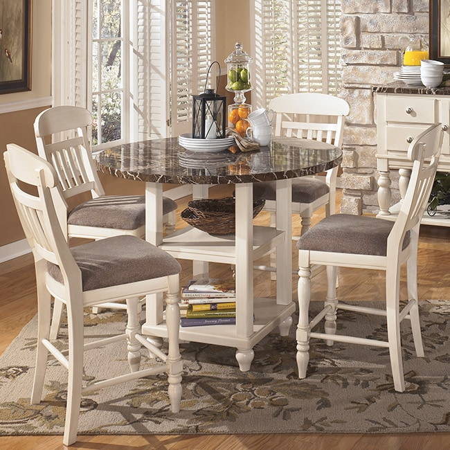 Signature Design by Ashley 'Manadell' Round White Dining Room Table