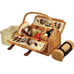 Picnic at Ascot Sussex Picnic Basket for Two with Blanket Wicker/London Plaid