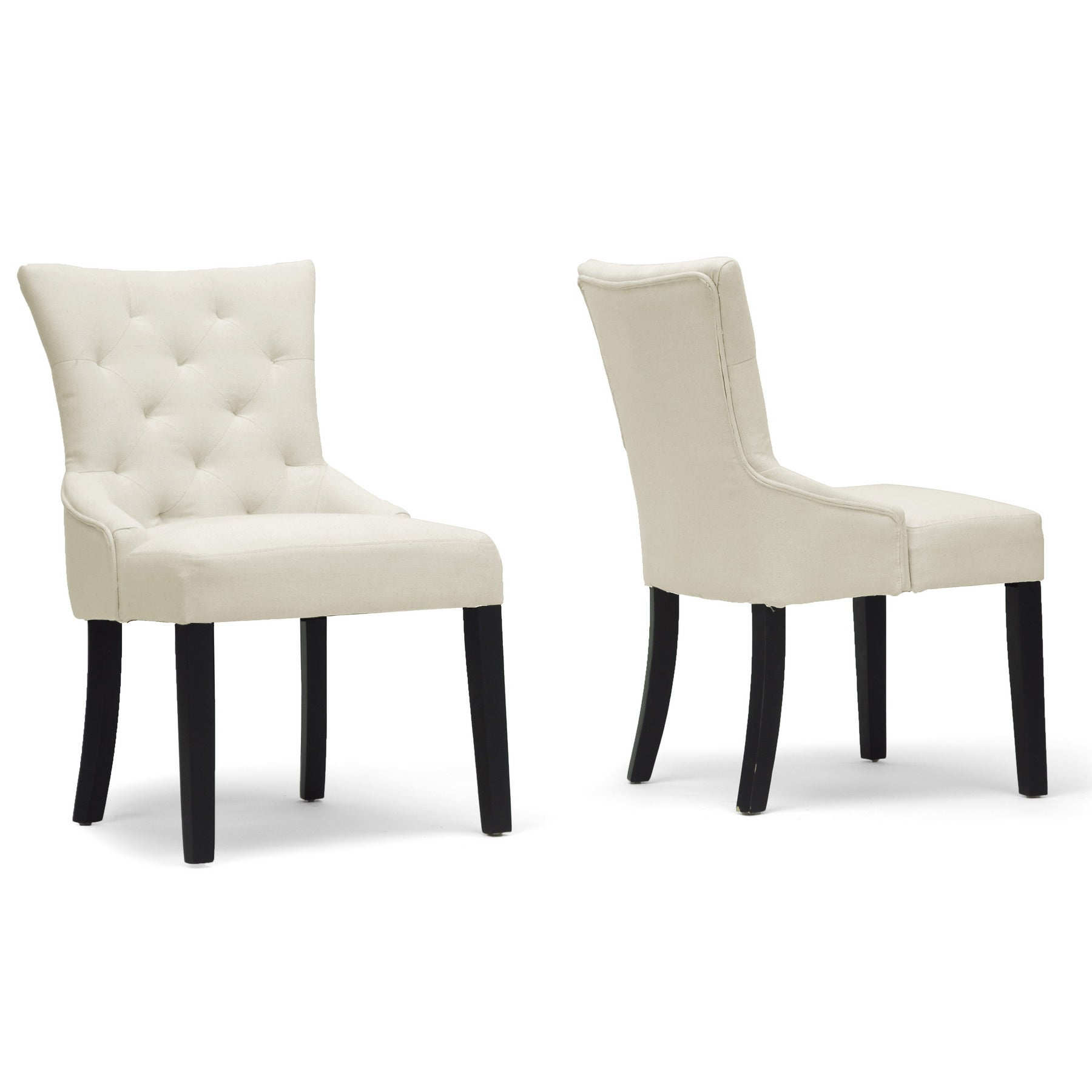 Epperton Beige Linen Modern Dining Chairs (Set of 2)