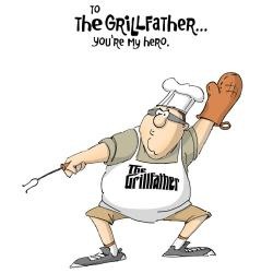 Father's Day Cling Rubber Stamp 5 X4 - Grill Father