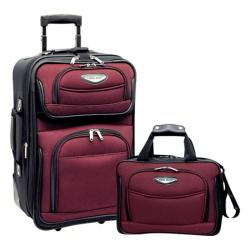 Traveler's Choice Amsterdam 2-Piece Carry-On Luggage Set Burgundy