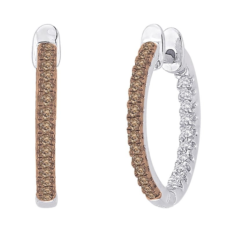 10k White Gold 3/4ct Brown and White Diamond Hoop Earrings (G-H, I2-I3)