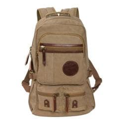 Laurex Canvas School Backpack with Leather Trim 1224 Khaki