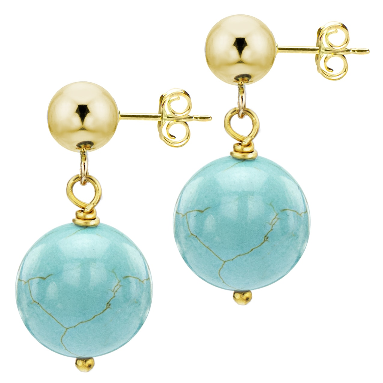 DaVonna 14k Yellow Gold Round Blue Turquoise Dangle Earring (8-9 mm)
