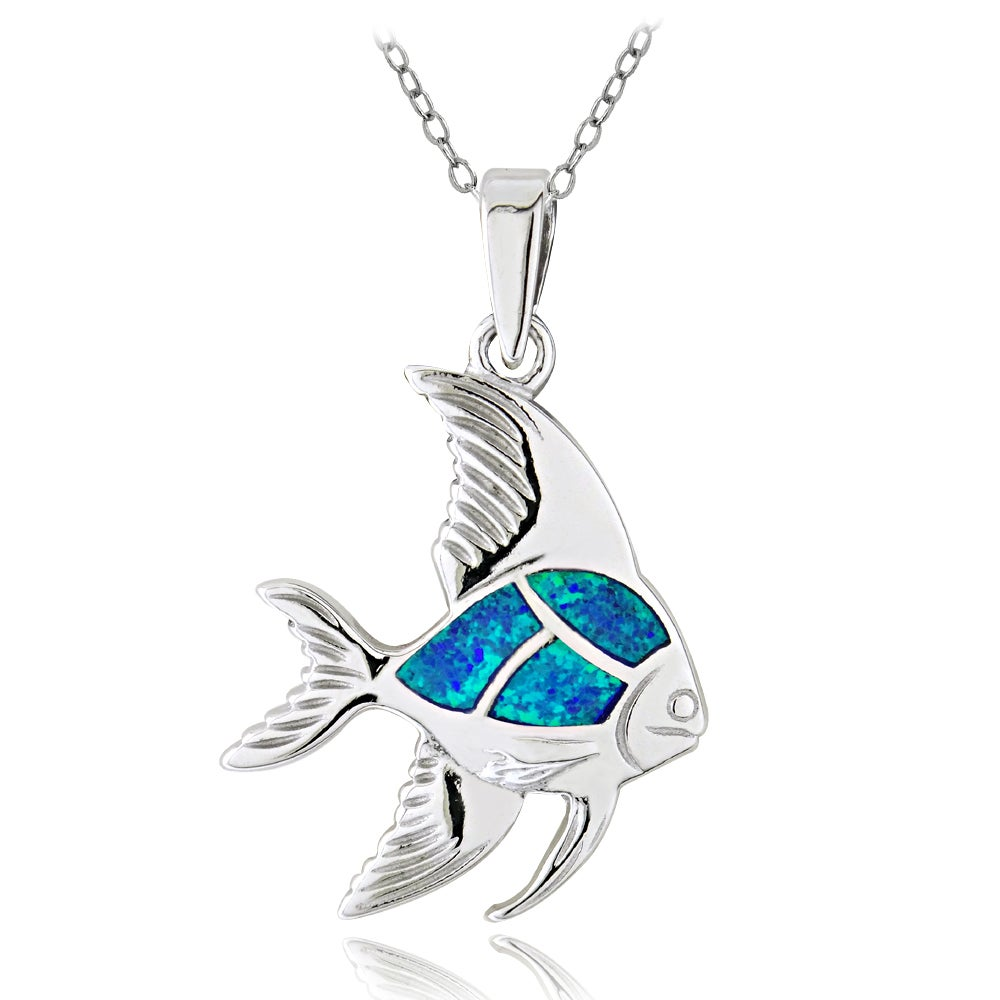 Glitzy Rocks Sterling Silver Created Blue Opal Fish Necklace