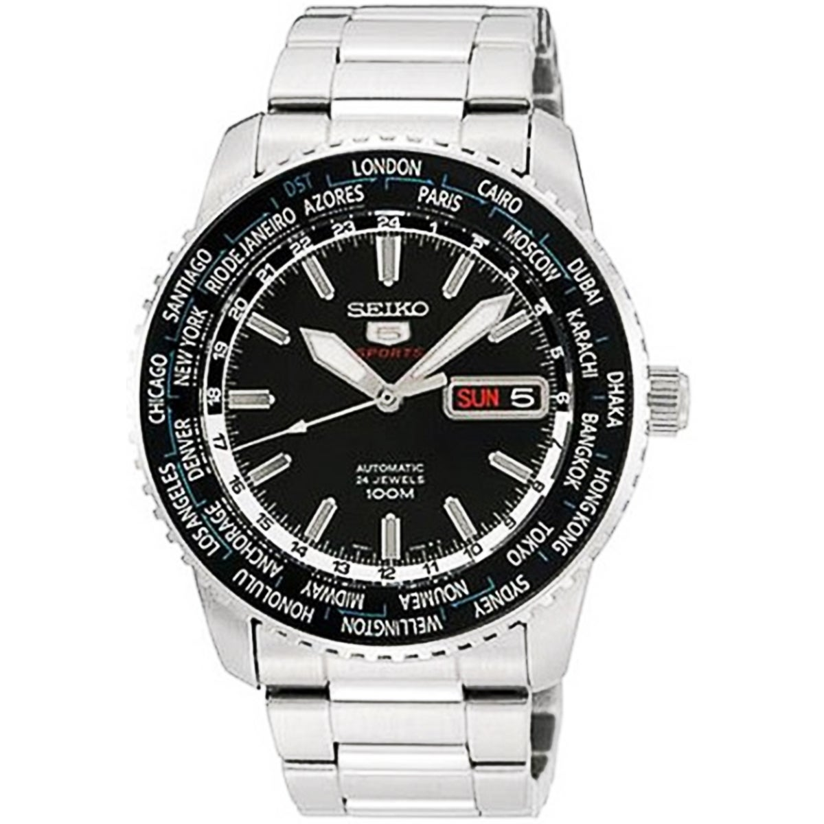 Seiko Men's 5 Automatic SRP127K Silvertone Stainless Steel Automatic Watch with Black Dial