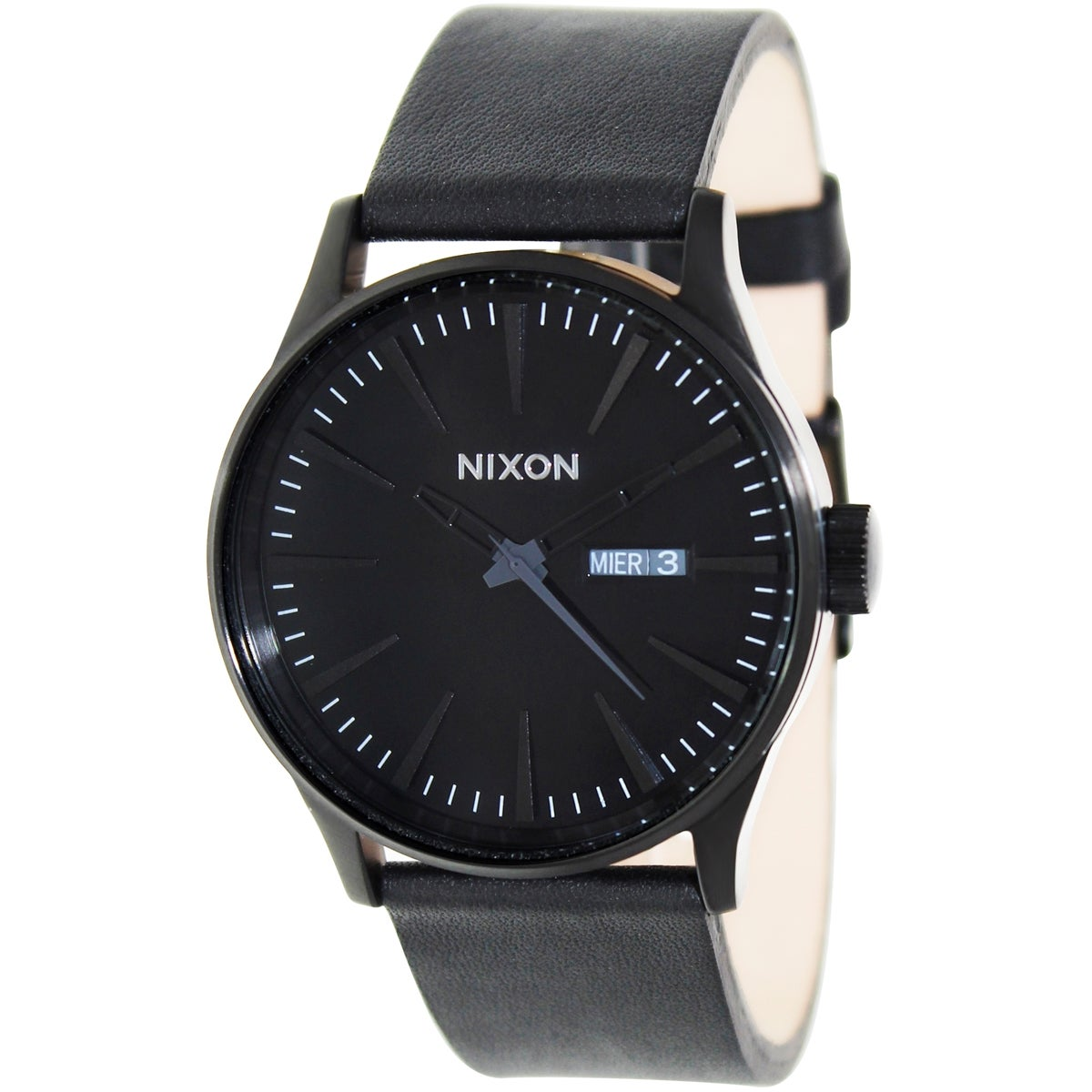 Nixon Men's Sentry Leather A105001 Black Leather Quartz Watch with Black Dial