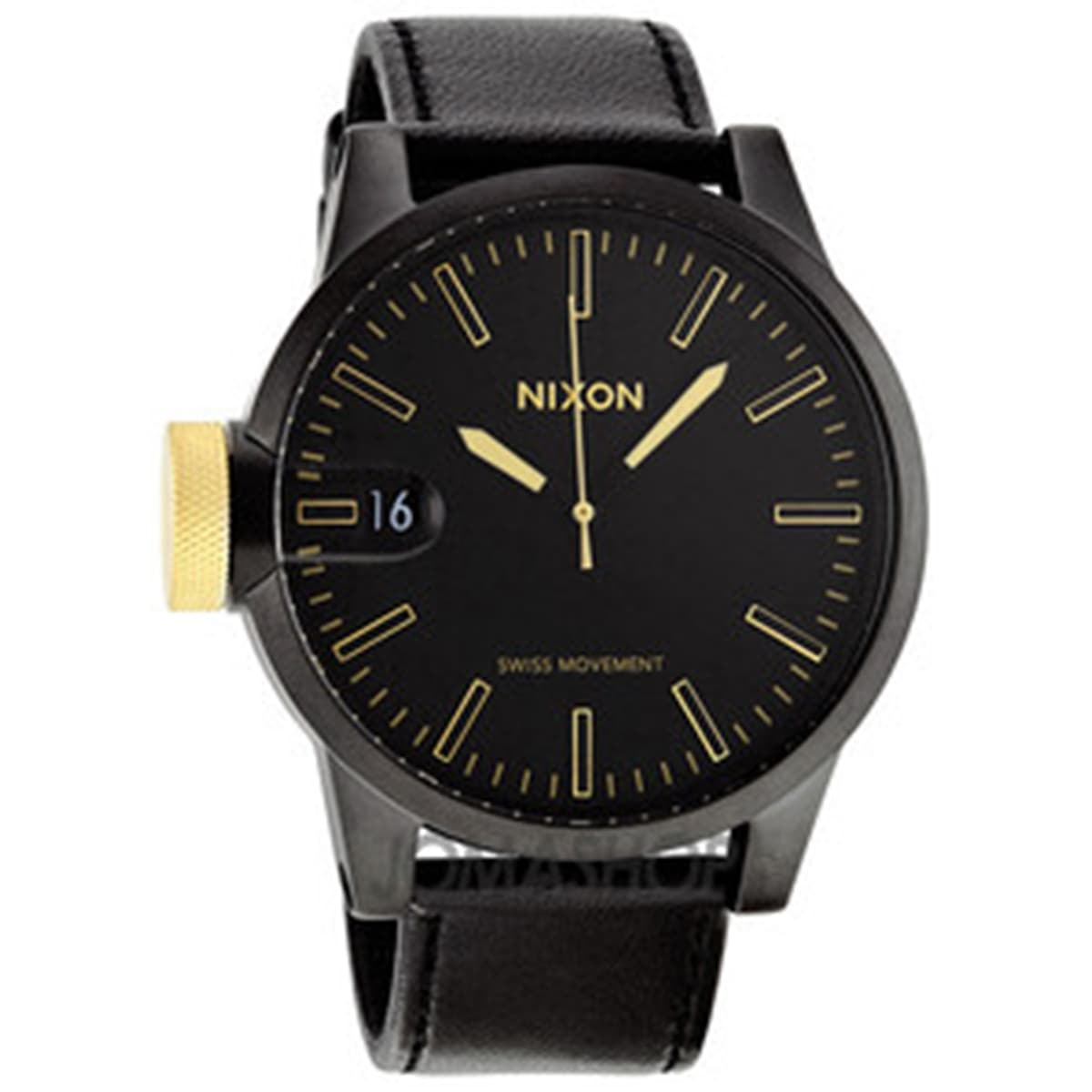 Nixon Men's Chronicle A1271041 Black Calf Skin Quartz Watch with Black Dial