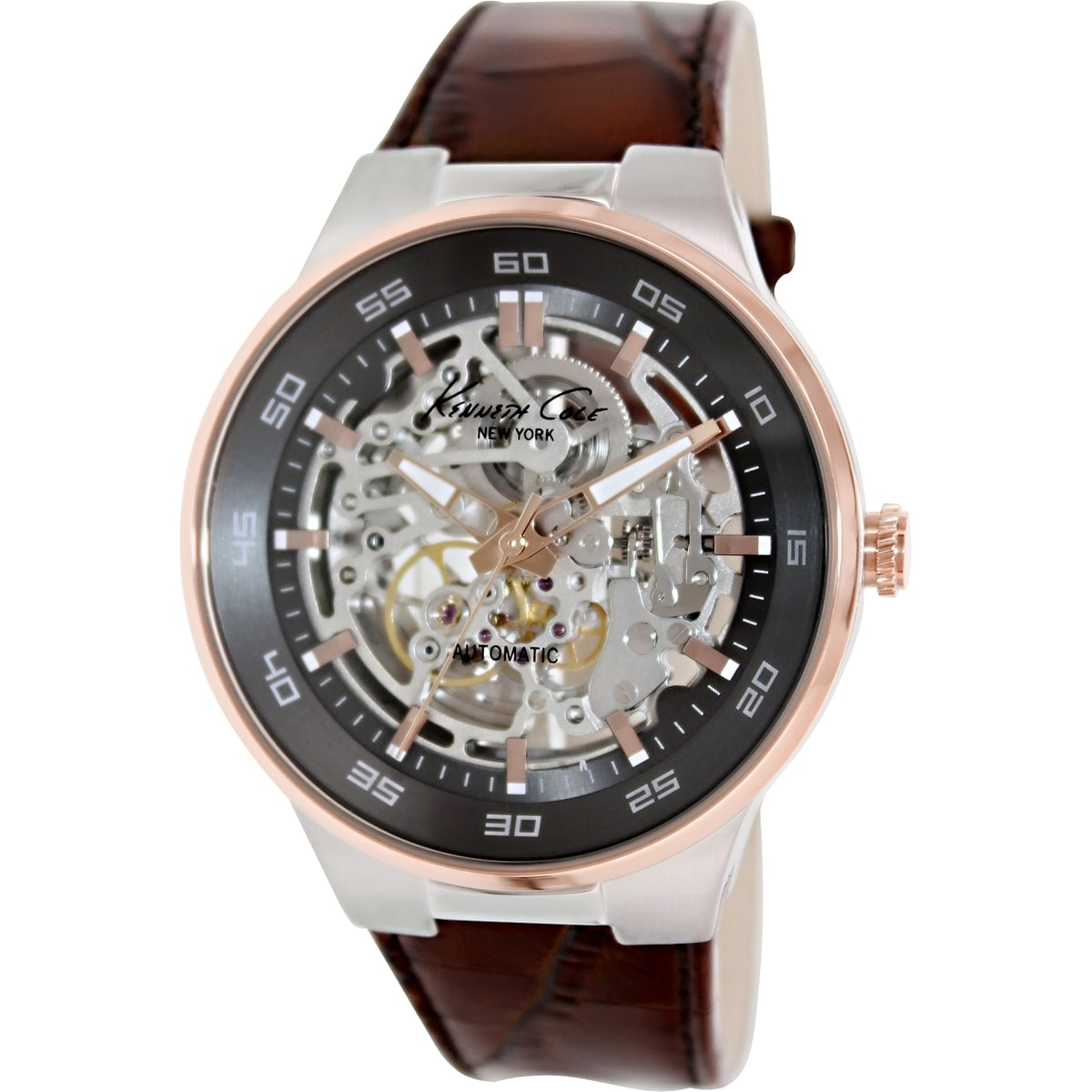 Kenneth Cole Men's KC8047 Brown Leather Automatic Watch with Grey Dial