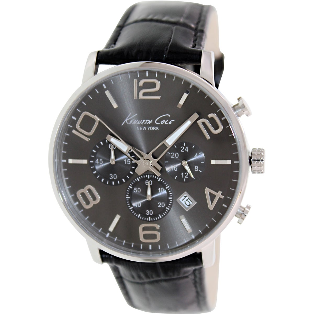 Kenneth Cole Men's KC8007 Black Leather Quartz Watch with Grey Dial