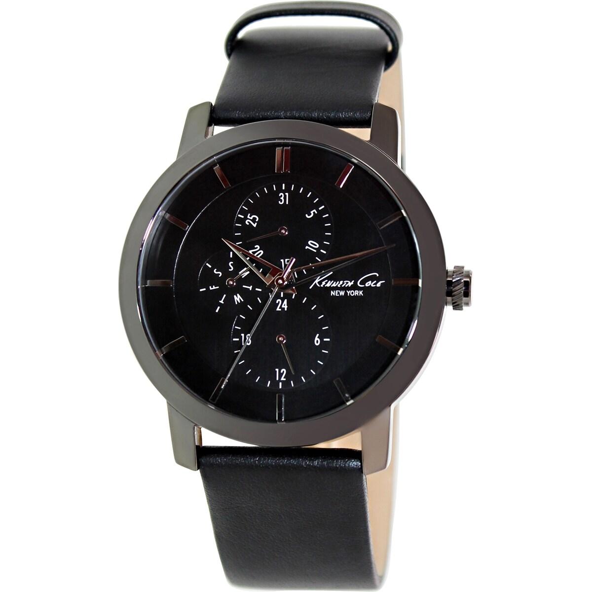 Kenneth Cole Men's KC8058 Black Leather Quartz Watch with Black Dial