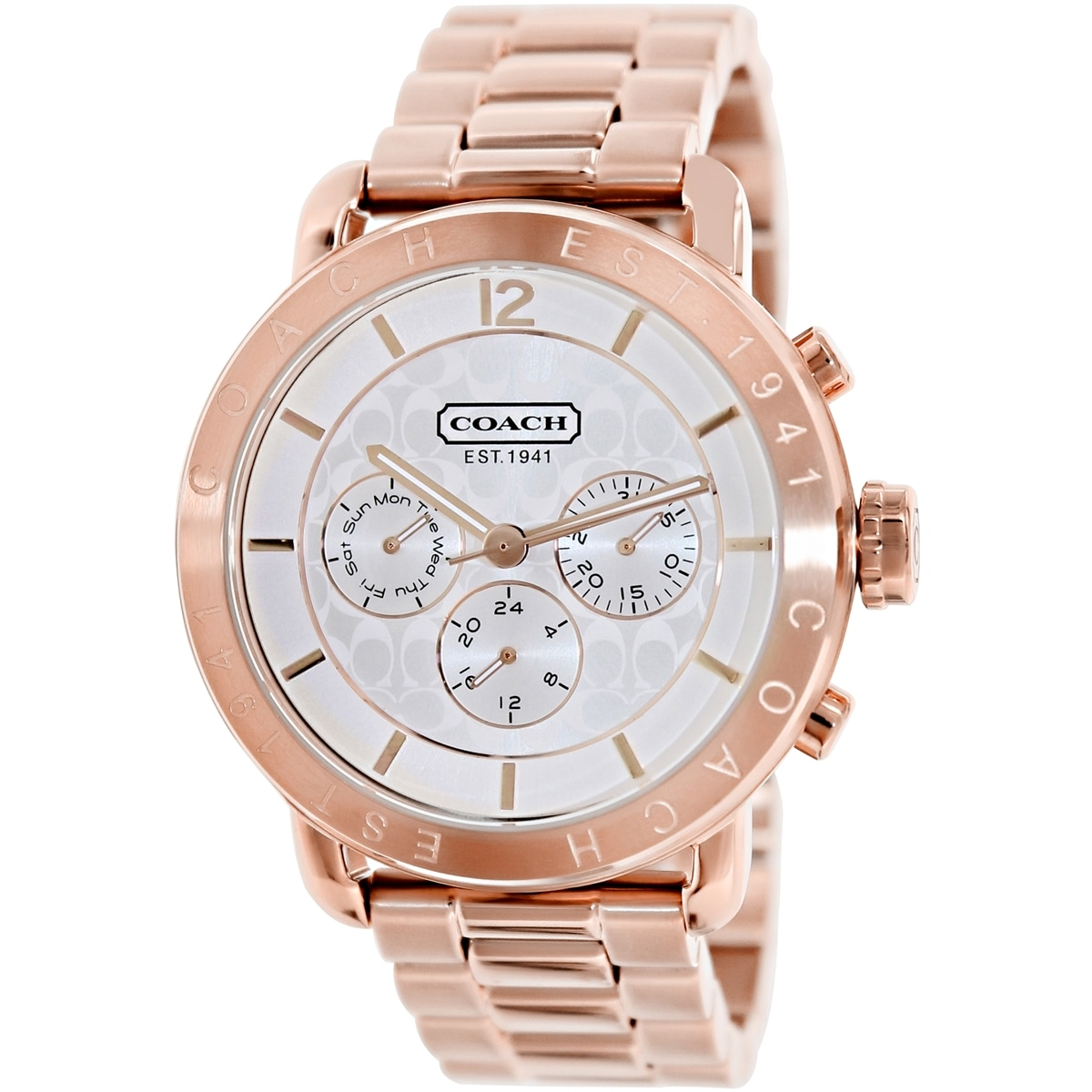 Coach Women's Legacy Sport 14501644 Rose Goldtone Stainless Steel Quartz Watch with Silvertone Dial