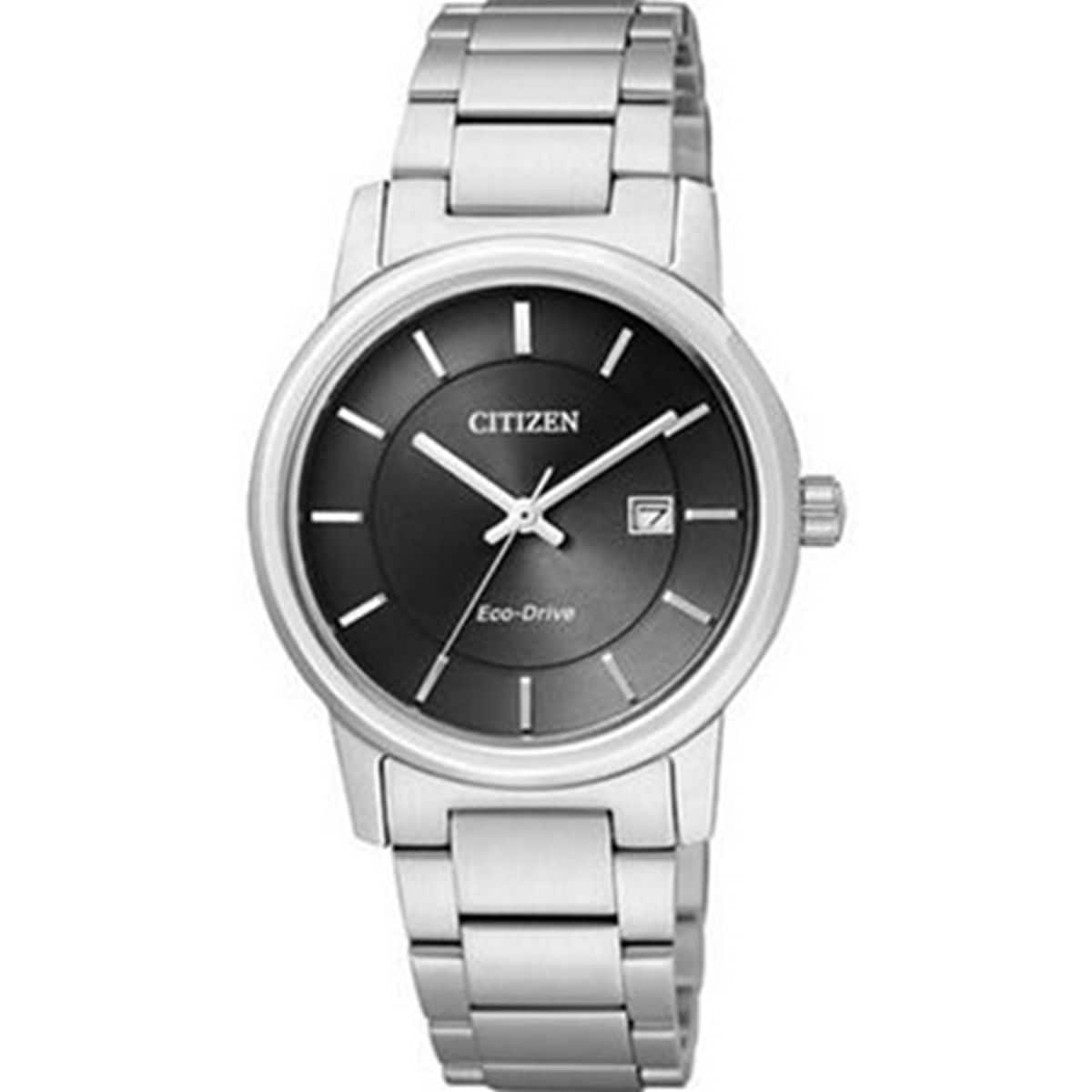 Citizen Women's Eco-Drive EW1560-57E Silvertone Stainless Steel Eco-Drive Watch with Black Dial
