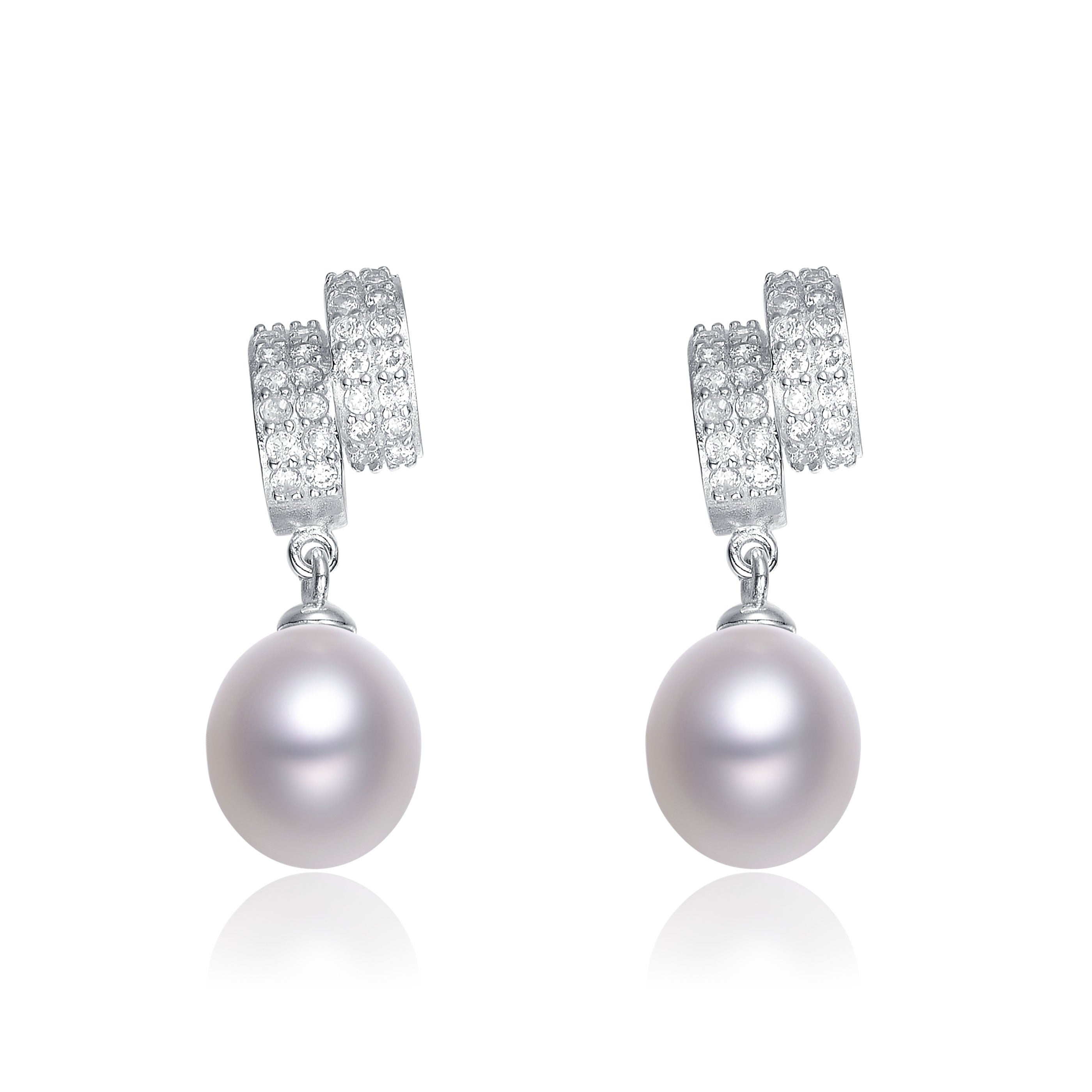 Collette Z Sterling Silver Cubic Zirconia White Freshwater Pearl Dangling Earrings (7-10 mm)