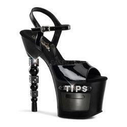 Women's Pleaser Dice 709-2 Black Patent/Black PVC