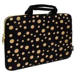 Sumdex NeoArt Printed Neoprene Sleeve - 14.1in Black/Gold Dots