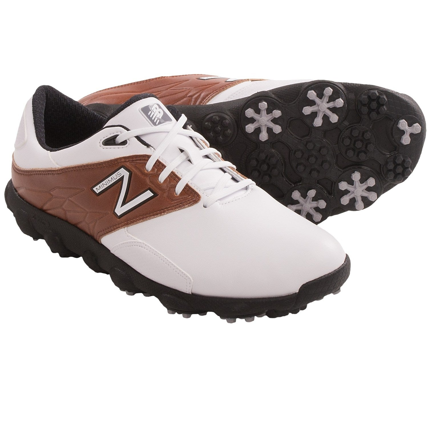 New Balance Men's Minimus LX White/ Brown Golf Shoes