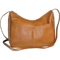Women's David King Leather 1034 Top Zip Hobo Tan