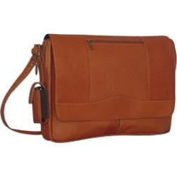 Men's David King Leather 156 3/4 Flap Messenger Tan