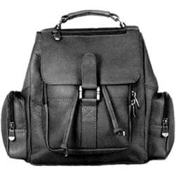 David King Leather 331 Mid Size Top Handle Backpack Black