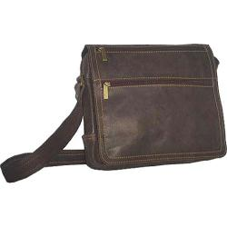 David King Leather 6155 Small Laptop Distressed Messenger Brown