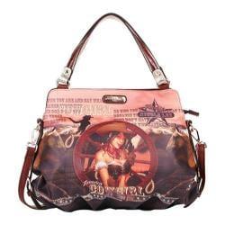 Women's Nicole Lee Cowgirl Wheel Western Print Satchel Bag Cowgirl Wheel/Brown