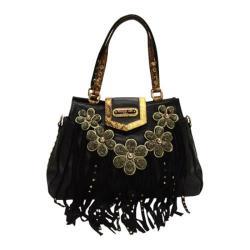 Women's Nicole Lee Sutton Leather Fringe Satchel Bag Black