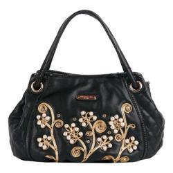 Women's Nicole Lee Tilly Beaded Flowers Hobo Bag Black