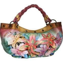 Women's Anuschka Braided Handle Large Ruched Hobo Luscious Lilies
