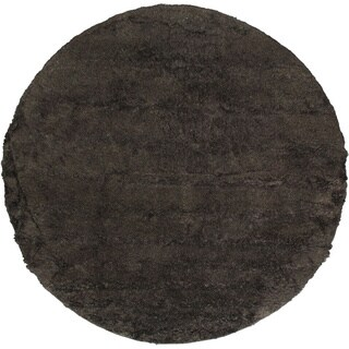 Hand-knotted Casablanca Retro Black Wool Shag Rug (8'2 x 8'2)