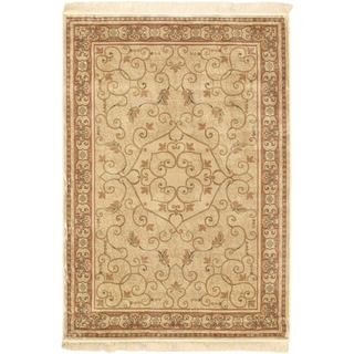 Persian Silk Cream Area Rug (3'3 x 4'7)