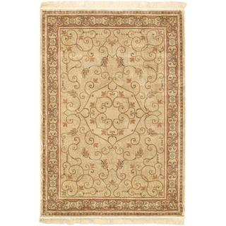 Persian Silk Cream Area Rug (3'3 x 4'7)