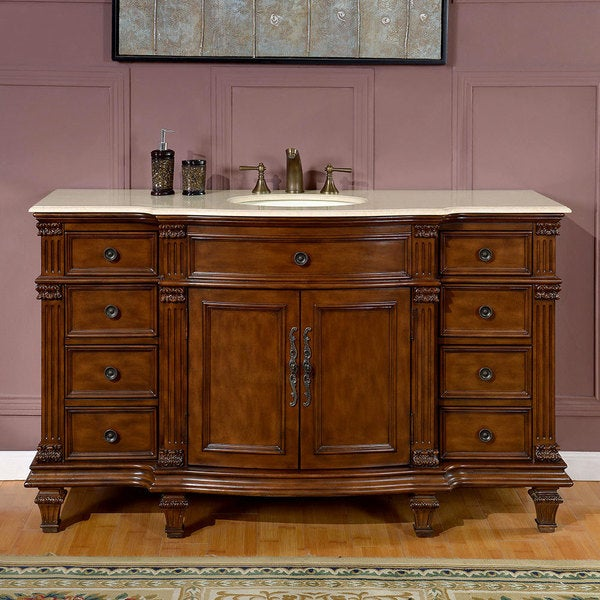 Stone Vanity Sinks : ... 58-inch Marble Stone Top Bathroom Vanity Lavatory Single Sink Cabinet