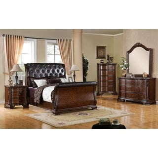 South Yorkshire Antique Brown Cherry Queen Bedroom Set Overstock