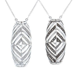Sterling Silver 1/10ct TDW Diamond Art Deco Style Necklace (J-K, I2-I3)