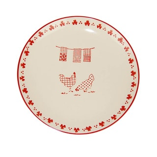 Large Cream/ Red Barnyard Style Plates (Set of 3)