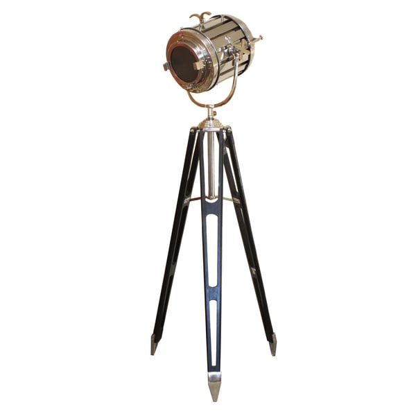 Hollywood studio director39s royal spot light tripod floor for Black tripod spotlight floor lamp gold inner