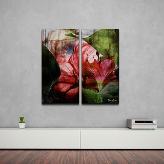 Alexis Bueno 'Hibiscus' 2-piece Oversized Abstract Canvas Wall Art